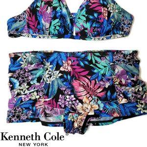 Kenneth Cole Floral tendencies skirted swim bottom